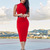 High Neck Midi Bandage Dress Red
