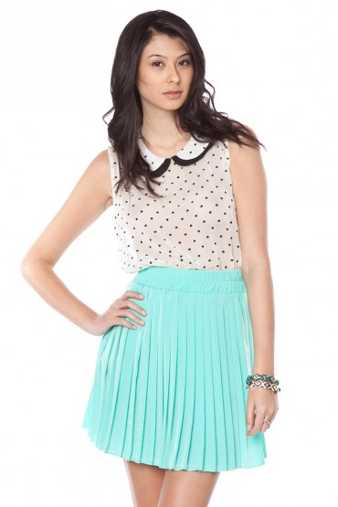 Jules pleated skirt in mint