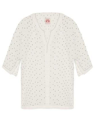 cotton print stars white top