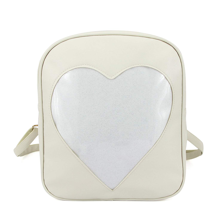 Amazon.com | 2018 Summer Candy Backpacks Transparent Love Heart Shape Pu Leather School Bags for Teenage Girls Kids Purse Lovely Ita Bag (beige) | Kids' Backpacks