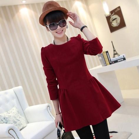 2014 autumn o-neck long-sleeve Women basic puff one-piece dress woolen dress autumn and winter | Amazing Shoes UK