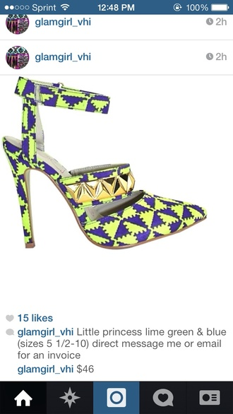 shoes bright high heels heels studs neon pumps print tribal print funky 80's 90s style