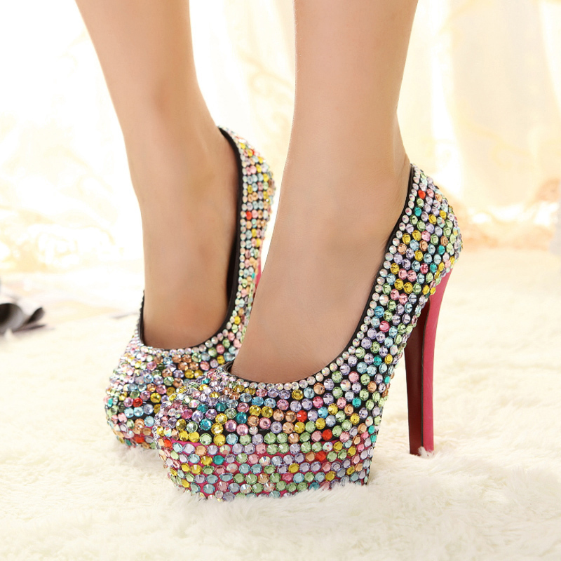 Multicolour rhinestone thin heels high heeled shoes female fashion dress shoes wedding shoes party shoes women dropshipping s267 on Aliexpress.com