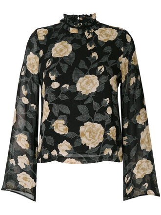 blouse printed blouse women floral black top