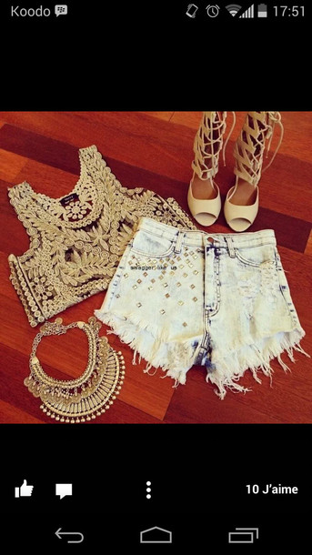 jewels shoes crop tops denim shorts top nude nude heels high heels statement necklace