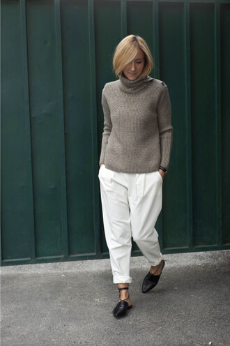 shoes babouches moroccan shoes moroccan babouche black babouches pants white pants sweater khaki sweater turtleneck long sleeves