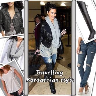 jeans kim kardashian ripped jeans scarf shoes blouse coat