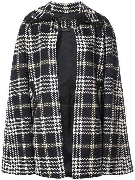cape women print black wool tartan top