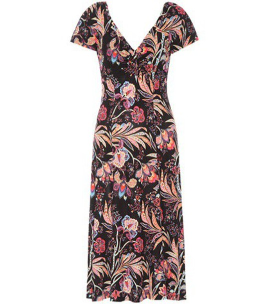Etro Floral printed dress in black