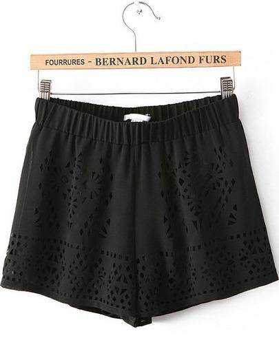 Black Elastic Waist Hollow Chiffon Shorts - Sheinside.com