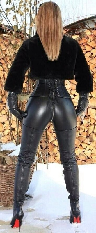 pants black leather fur sexy high heels corset leggings shorts shoes