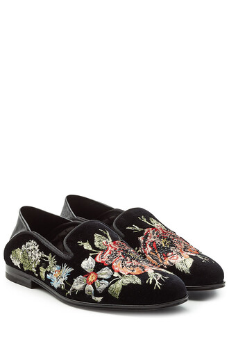 embroidered slippers leather velvet shoes