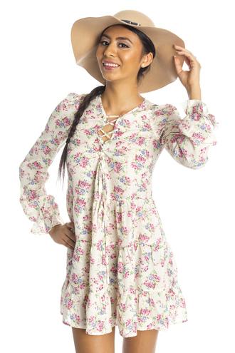 dress floral dress lace up dress
