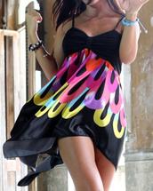 dress,colorful,black,pattern,short