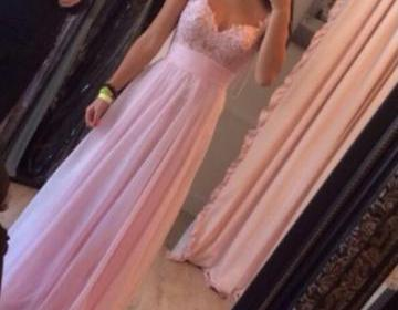 Custom made pink a line long prom d..
