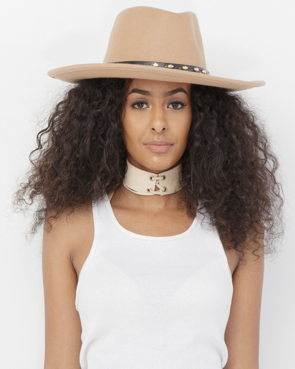 THELMA Wool Wide Brim Fedora Hat in Nude at FLYJANE