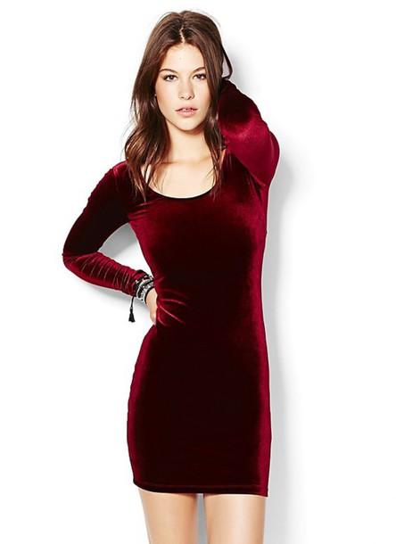 dress velvet dress red dress bodycon dress long sleeve dress