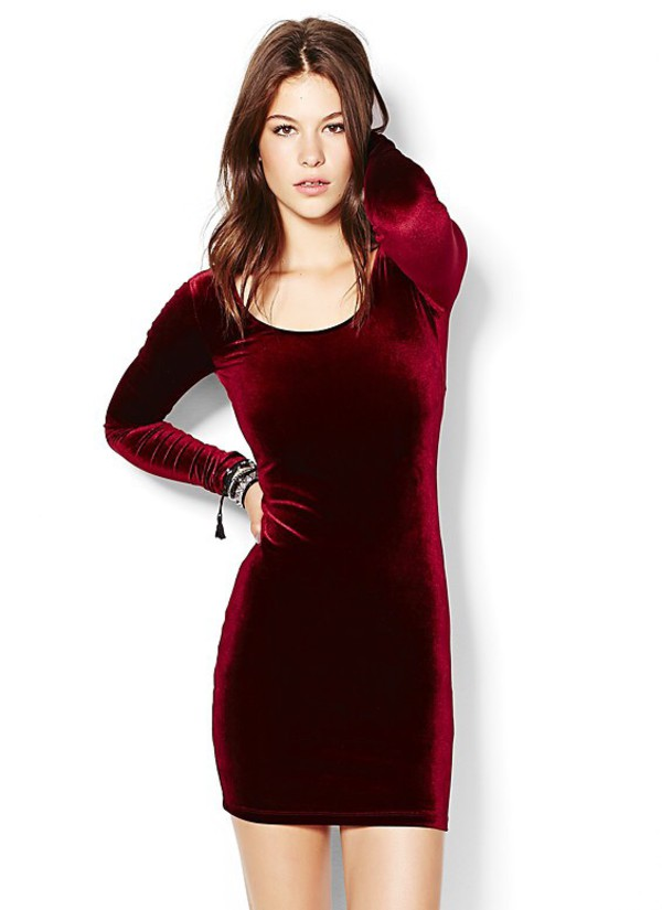 Dress: velvet dress, red dress, bodycon dress, long sleeve dress ...