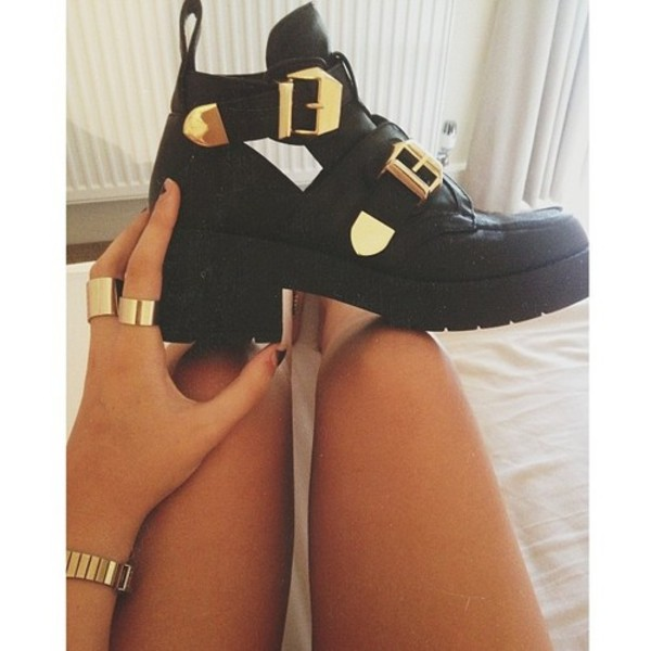 shoes boots gold tumblr jewels