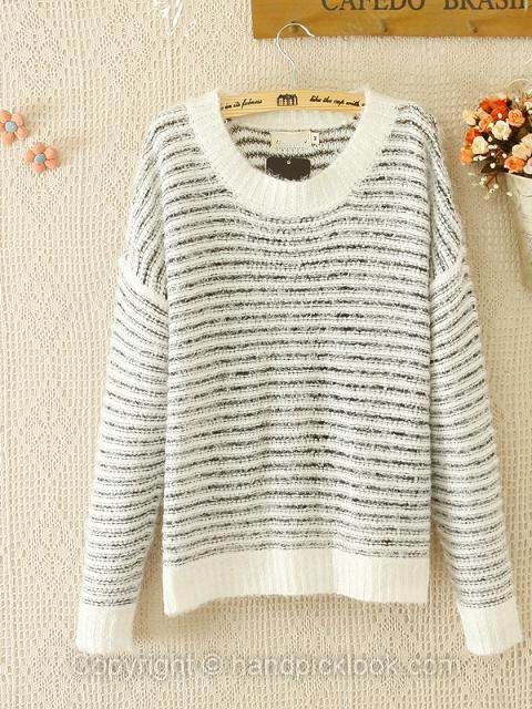 White Long Sleeve Striped Wool Sweater - HandpickLook.com