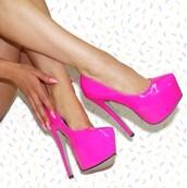 shoes,almond toe,neon,bright,patent leather,magenta,platform heels,high heels