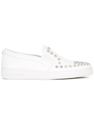 studded metal women sneakers leather white cotton shoes