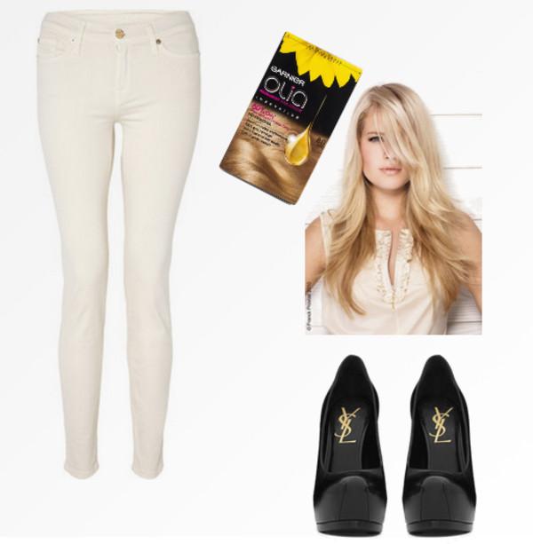 jeans white jeans black pumps black heels blonde hair