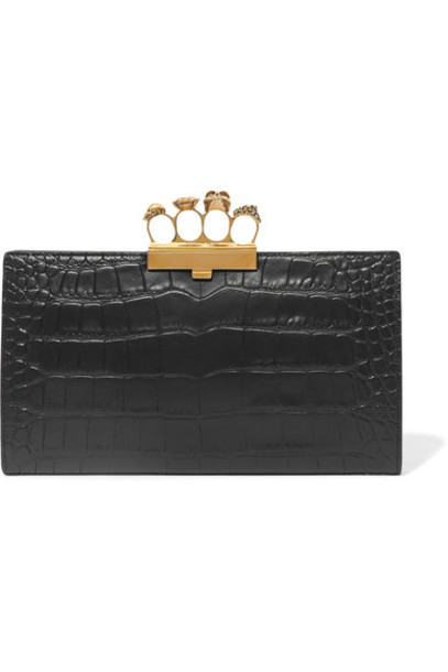 Alexander Mcqueen leather clutch embellished clutch leather black bag