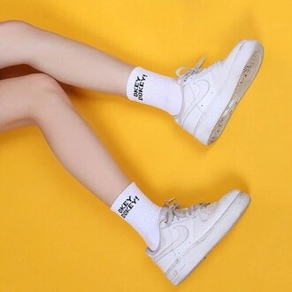 socks white white socks okey dokey aesthetic grunge hipster harajuku basic happy positive