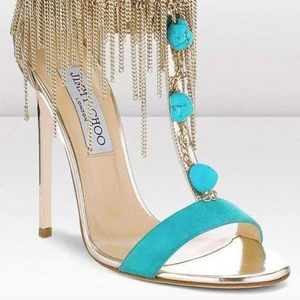 shoes jimmy choo high heels blue chain aqua