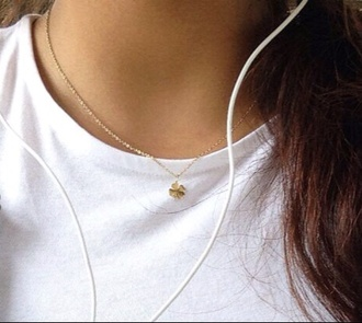 jewels necklace golden necklace fortune plants flowers minimalist lucky clover clover happy headphones overalls