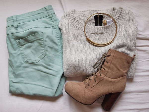 shoes pants sweater boots brown cute necklace combat boots grey