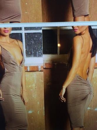 dress backless dress v neck dress party dress draped bodycon dress nude dress