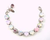 jewels,siggy,crystal bracelet,pink bracelet,rose water opal,white opal,swarovski crystals,Swarovski AB,bling,chunky bracelet,designer bracelet,gifts for her,siggy jewelry
