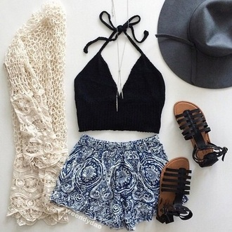 shorts paisley short summer pretty white blue coachella top shoes cardigan hat summer outfits