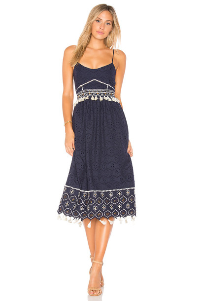 HEMANT AND NANDITA dress midi dress tassel midi navy