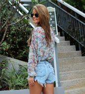 shorts,floral,shirt,denim,acid wash,blouse