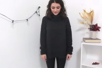 sweater black jumper turtleneck oversized sweater oversized