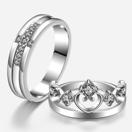 prince and princess 925 sterling silver cross and crown