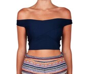 top,navy,wrap,crop tops,off the shoulder