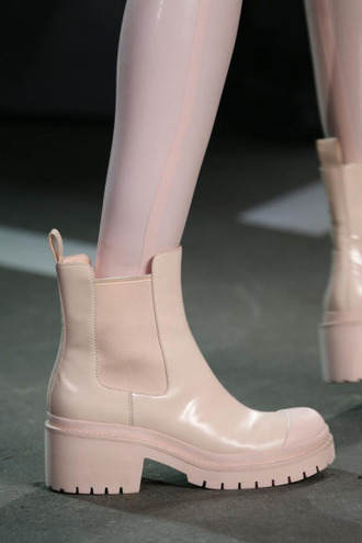 shoes runway model chelsea boots nude light pink