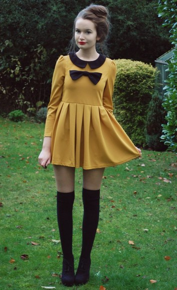 dress bow peter pan collar cute dress peter pan collar dress yellow yellow dress