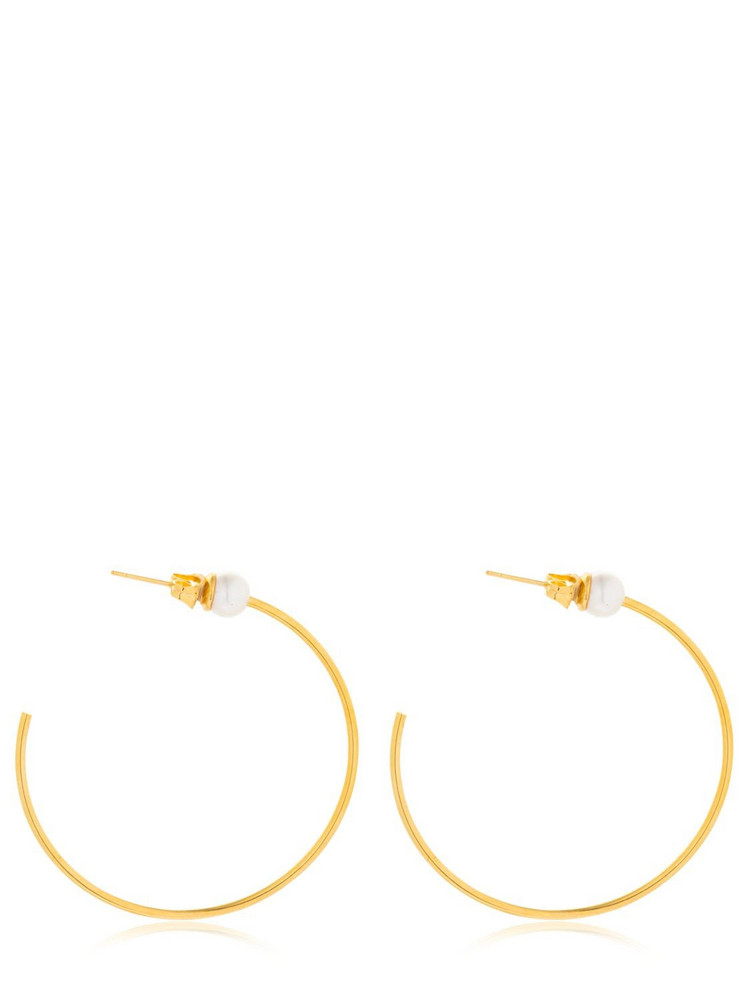 VITA FEDE Medium Sfera Pearl Hoop Earrings in gold