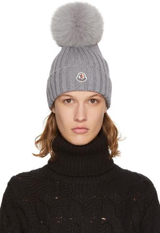 fur beanie pom pom beanie grey hat