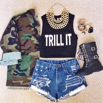 shoes camo combat boots gold chain jeans jewelry jacket shirt trill camouflage shorts