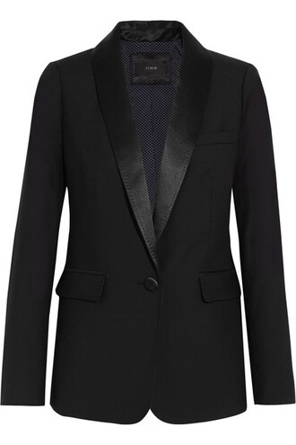 blazer black wool satin jacket