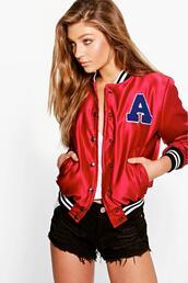 jacket,bomber jacket,satin bomber,satin varsity jacket,varsity bomber jacket,wine,red,red bomber,wine bomber,36683