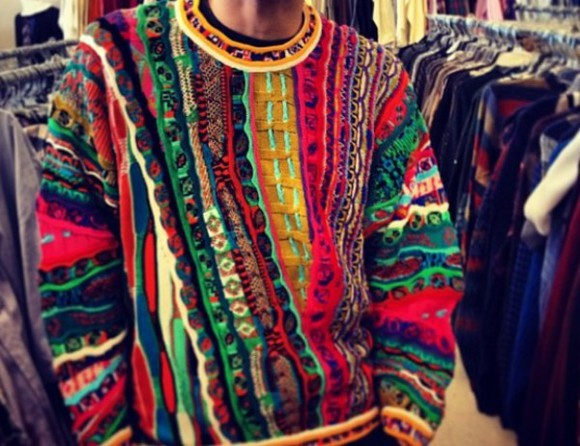 90s style sweater multi colored pattern crazy pattern