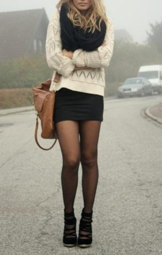 skirt outfit bag tights shoes scarf winter outfits sweater