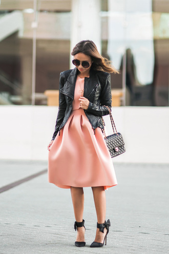 lace and locks blogger leather jacket peach peach dress date outfit